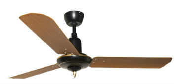 Matt Black Colonial with 3M Light teak finish metal blade fan