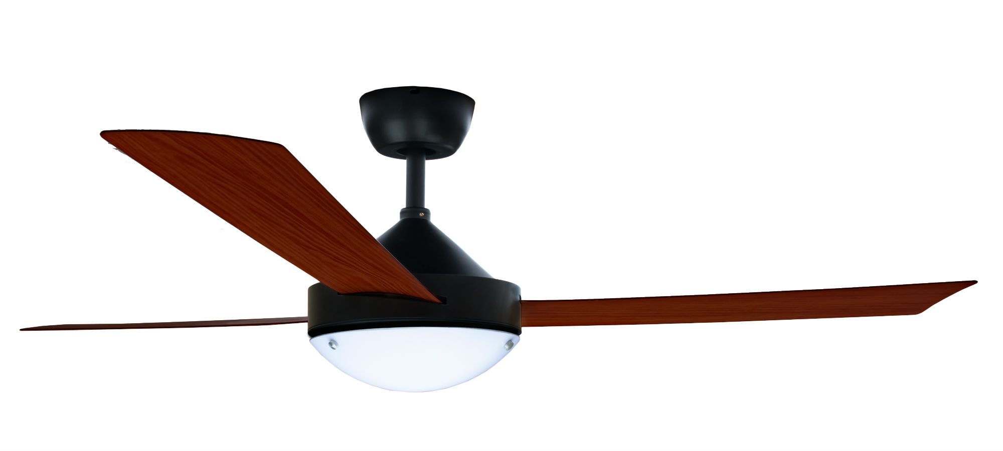 Milano Matt Black With Dark Teak Finish 3 Metal Blade Fan