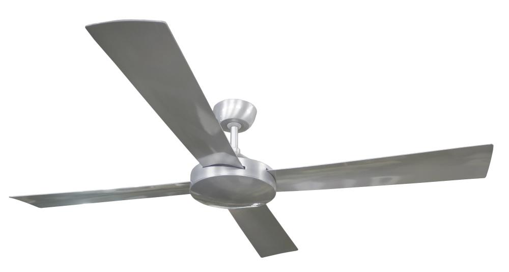 Contemporary Milano Brushed Al No Light (4 Blade) AC Motor Fan